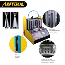 AUTOOL CT200 Petrol Car Motorcycle Injector Cleaning Tool 6/4 Cylinder Ultrasonic Clean Tester 220/110V Betterthan LaunchCNC602A